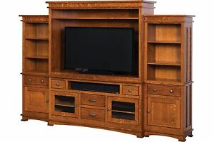 Amish Mission TV Entertainment Center Wall Unit Mission Solid Wood Bookcase