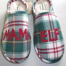 NWT DEARFOAMS MAMA ELF Ladies L 9-10 Green Red Plaid Memory Foam Slippers $34