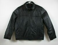 TOMMY HILFIGER Genuine Leather Mens Black Jacket Sz L, Very Soft