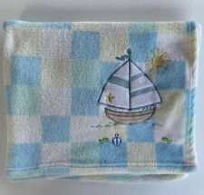 Special Delivery Sailboat Blue Plaid Sunshine Blanket Boys Unisex Lovey