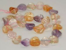 17-15MM  MIX QUARTZ GEMSTONE TWIST ROUND LOOSE BEADS 7.5""