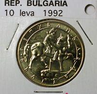 1992 Bulgaria 10 Leva BU Copper Nickel Zinc Madara Horseman Coin