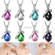 8Color Charming Silver Chain Jewelry Fashion Crystal Rhinestone Pendant Necklace
