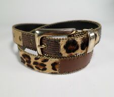 Patchwork Leather Belt Cheetah Snake Print Cow Fur 2527 Brown Gold Large 32 34