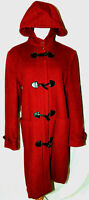 Macy's Charter Club Womens Red Wool Blend Coat Toggle Wool Duffle Coat Parka ~10