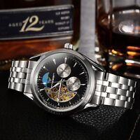 Luxury Mens Tourbillon Stainless Steel Automatic Mechanical Wrist Watch Skeleton