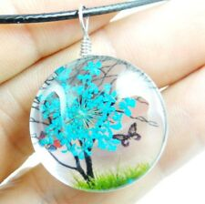Fashion Crystal Glass Dried Flower Lucky Tree Round beads Pendant necklace 05Z2