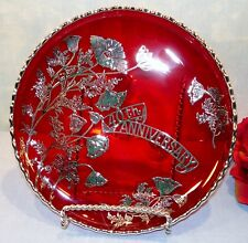 Ruby Red Glass 40th Anniversary Plate with Silver Overlay, 3 footed, 7 1/4""
