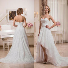 Elegant Hi-Low Strapless Lace Crystals Beach Wedding Dresses Bridal Gowns Ivory