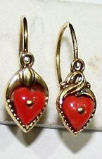 2 SINGLE ANTIQUE VICTORIAN 9K GOLD SALMON CORAL SMALL HEART LOVE EARRINGS c 1900