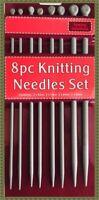 New 8pcs Quality Plastic Knitting Needles Craft Set 25cm x 4mm - 5mm - 6mm - 8mm