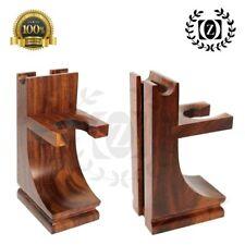 Mission Style Classic Wooden Safety, Straight Razor & Brush Stand Walnut Finish