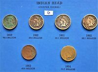 1859-1864 COPPER NICKEL INDIAN HEAD CENTS, PENNY, 6 COINS #6