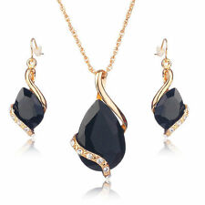 Jewellery Set Necklace Earrings Ladies Gold Coloured Rhinestone Pendant Bride