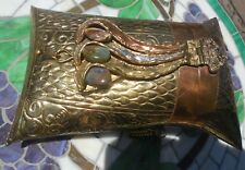 Antique 1920's Dance Purse Brass Copper inlaid stones Black Velvet lining