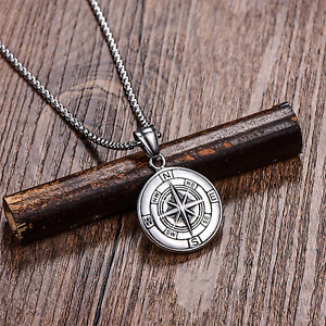Men's Vintage Compass Necklace - Stainless Steel - 2 colours - UK Stock