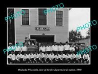 OLD LARGE HISTORIC PHOTO OF ONALASKA WISCONSIN, THE FIRE DEPARTMENT STATION 1950