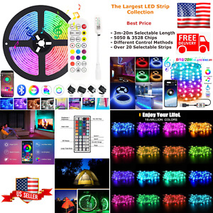 LED Strip Light RGB Water Proof Remote Wi-Fi Bluetooth Mobile Lamp Full Kit USA