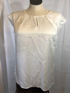 Kasper PS NWT Cap Sleeve Keyhole Neck Blouse White Ivory Petite S suit MSRP$59