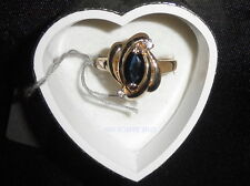 Blue Blk. 1ct Marquise Sapphire & Diamond Ring  Sz.6.5