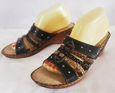 bc0625ba9 PATRIZIA by Spring Step Black   2 Tone Tan Brown Braided Straps Slides 41  US 10