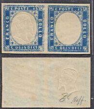 ITALY REGNO 1863 VITT EMANUELE II COPPIA 15c con esemplare SENZA EFFIGE 11n CERT