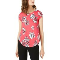 Alfani Top Scoop Neck Short Sleeves Pink Floral Size XL NEW NWT 397