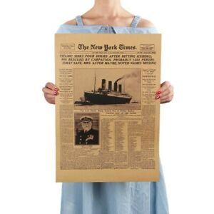 Vintage Retro History Poster Titanic Shipwreck Ship Newspaper Home Wall Decor