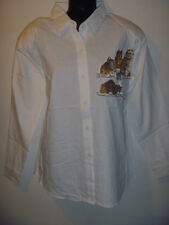 Top Small White Cat Lovers Kittens Embroidery Blouse Button Down Shirt 822 NWT