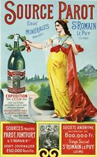"""""""SOURCE PAROT"""" Affiche d'intérieur originale entoilée  Litho 1898  32x47cm"""