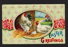 Easter Greetings Postcard, Chickens on Nest, Eggs, wallpaper background, 1915