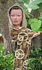 A Hooded Pocket Scarf, Camouflage Peace sign Fleece, Handmade, Reversible.