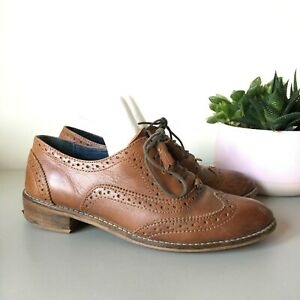 Womens 5UK Brown Tan Leather Lace Up Brogues Shoes Flats Dark Academia Preppy