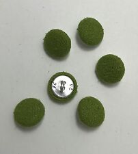 Leaf Green SILK NOIL Fabric Buttons - Hand Made Buttons - set of 6 - 5/8""