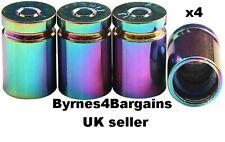 valve caps dust caps bullet shell rainbow chrome car BMX motorcycle UK seller