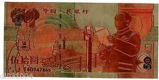 CHINE CHINA Billet 50 YUAN 1999 COMMEMORATIVE MAO TSE TUNG PLAQUé SANS VALEUR