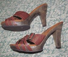 Brown open toe high heel mules w/Buckle detail MOSSIMO SUPPLY CO, 5.5 synthetic