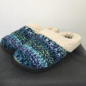 Dearfoams Women's Slippers UK 5-6 Blue Multi Knit Indoor Outdoor Clog Mule BNIB