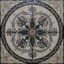 Flowers Curved Rope Border Floral Floor Carpet Home Marble Mosaic Geo129