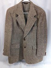 VTG Harris Tweed Blazer Jacket Suit Coat Mens Brown Scottish Wool Herringbone