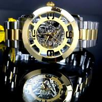 Invicta Vintage Gold Two Tone Automatic Exhibition Skeletonized Steel Watch New