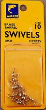 Bass, Trout Fishing Swivel, 1 Pack Of 12 Walker #10 Brass Barrel Swivels