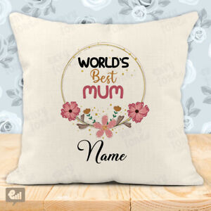 Personalised World's Best MUM Cushion Cover Pillow Case Home Decor Room Gift