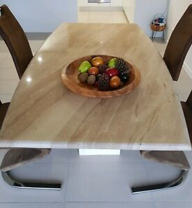 SOLID MARBLE 2 PIECES DINING TABLE with 4 Chairs