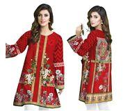 Women RED Pakistani Indian Kurti Kurta Cotton Designer Digital Print Tunic