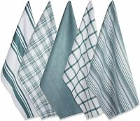Fresh Teal & White Plaid Striped and Solid Kitchen Dish Towels Cotton Set of 5