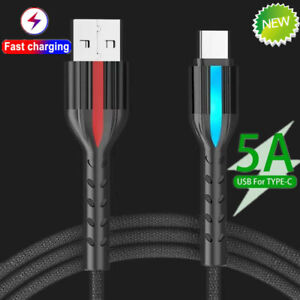 1/2/3M QC3.0 5A Fast Charging Charger USB C Type C Cable For Sumsung S20 10 Note