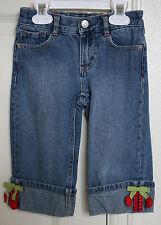 Gymboree CHERRY CUTE Pants Size 5 Capri Girls Cherry Denim Cuffed VGUC Adj Waist
