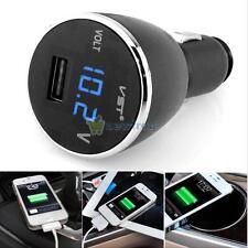 Cigarette Lighter LED Digital Voltage Meter Voltmeter USB Charger Car for Phone