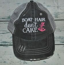 Ladies Boat Hair Don't Care Distressed Trucker Hat Womens Cap anchor Embroidered